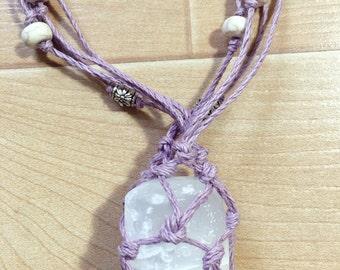 Selenite Lavender Necklace