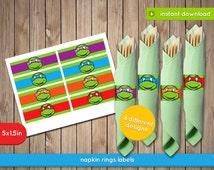 TMNT Napkin Wrappers - Teenage Mutant Ninja Turtles napkin ring labels, decoration, favors - Pdf INSTANT DOWNLOAD