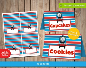 Thomas The Train Food Cards - Food, table, tents, labels, tags, decoration, favors - Pdf INSTANT DOWNLOAD