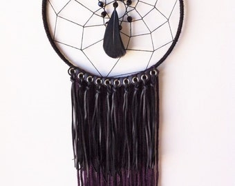 Dreamcatcher, black, purple, wall decor, nursery, baby, boho, tribal.