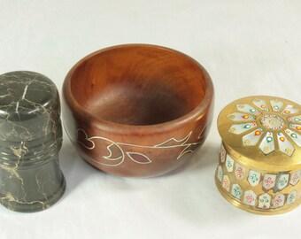 Vintage Brass Wood Onyx Trinket Dishes Pots