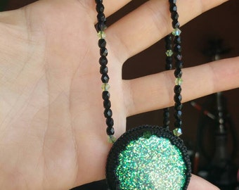 Fimo necklace embroidered and Crystal