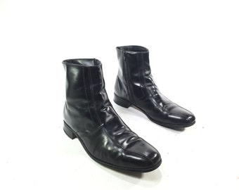 Men's Size 10.5D-Vintage Weyenberg 1980's Black Leather Zip-Up Ankle Dress Boots