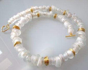 """""""Snow-white"""" Bling from Dutch ring beads necklace"""