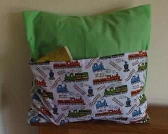 "book PJ pocket pillow ""TRAINS"""