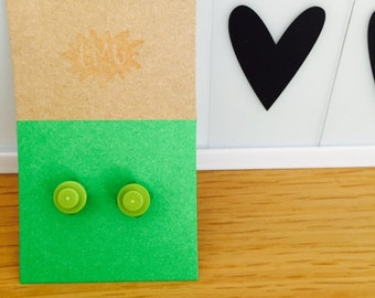LEGO Green Flower Earrings