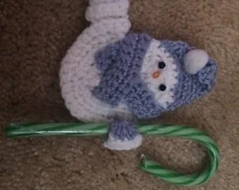 Crochet Snowman Candy Cane Holder