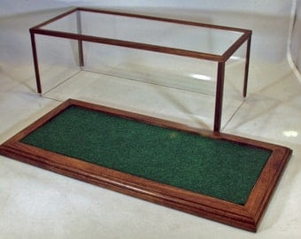 Walnut 1/24 Scale Model Car Display Case w/Forest Green Felt Floor - Display Case//Model Display//Gifts for Collectors//Office Decor