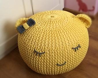 Knitted pouf , yello pouf, for childrens, ,  seat,ottoman,footstool,knitting pouf, crochet pouf, handmade, cotton cord,