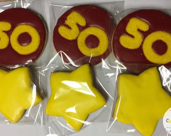 50th Birthday Cookies - 1 Dozen (12 Cookies) - YOU CHOOSE COLORS
