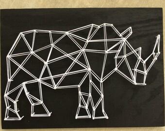 Rhino Geometric Animal String Art, Rhinoceros, White Rhino, Black Wood, Handmade, Made to Order