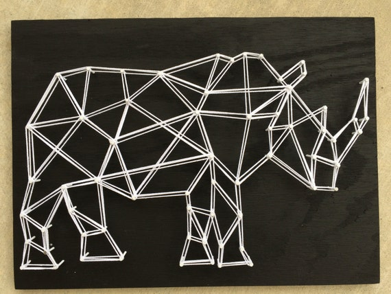Items Similar To Rhino Geometric Animal String Art