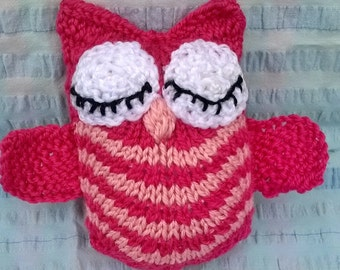 Handmade soft toy: knitted owl