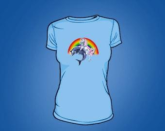 Womens Blue Dolphin Tee