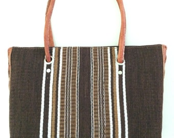 Handmade silk, woven straw and leather purse from Madagascar