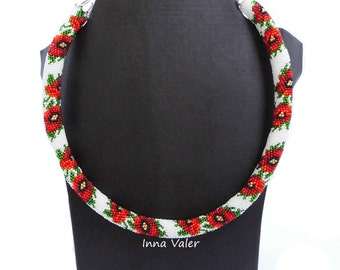 "Beaded necklace ""Red flowers"""