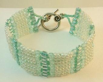 Beaded Herringbone Cuff Bracelet -   Teal