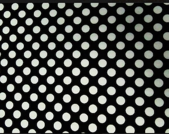 Spandex Lycra By The Yard - Black & White Polka Dots