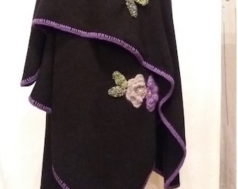 Black Cape crocheted flowers purple