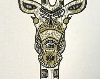 Henna Inspired Giraffe on Canvas