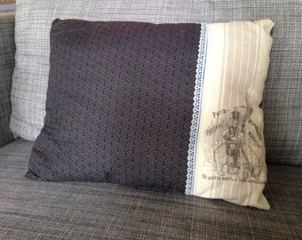 """grey throw pillow """"the woman and the bear"""""""