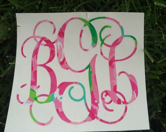 Lilly Pulitzer Inspired Monogram Decal