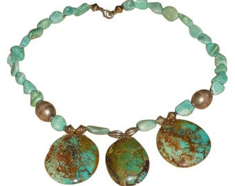 """17"""" Real Turquoise Necklace With Three 1 1/2 inch Large Round Turquoise Stones And Silver Beads ...  Offer's Welcome"""