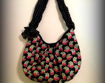 scarf handle cherry print bag