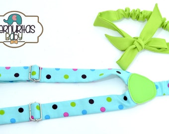 Suspenders and Head Bands colorful polka dots