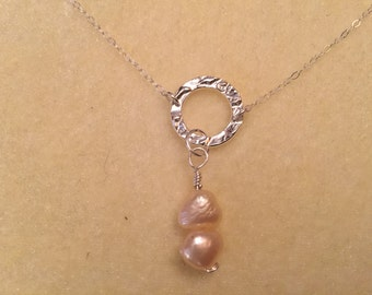 """Sterling Silver """"O"""" Necklace with Fresh Water Pearls"""