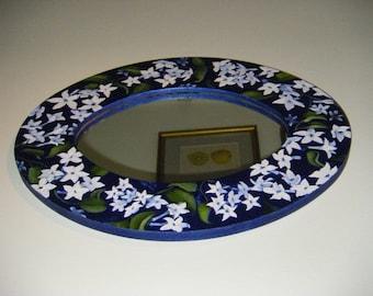 Hand Painted Mirror with White Stephanotis