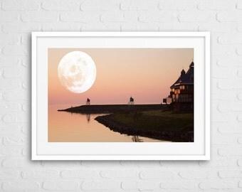 Scandinavian Moon Art Photo Framed