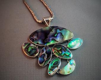 Abalone Paua Shell Pendant Silver 925 handmade