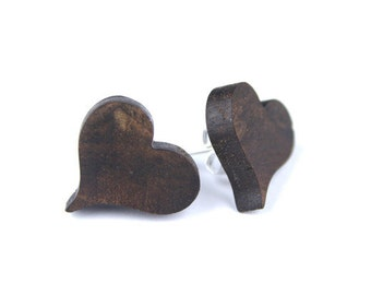 Heart Earrings in fine Walnut