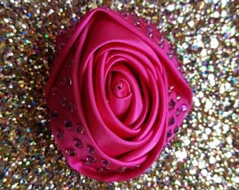 Large pink silky rose with swarovski crystals
