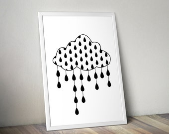 CLOUD NURSERY print,RAINDROPS,nursery wall art,cloud nursery decor,raindrops decor,kids room decor,nursery cloud art,nursery printables