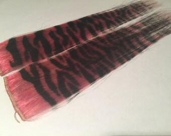 "Set of two pink & black 13"" Zebra Print Human Hair Extension"