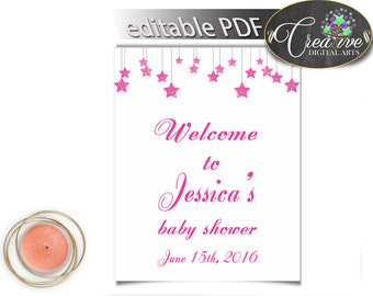 Shower Pink Glitter Little Star Theme Greet Guests Entrance Sign WELCOME SIGN, Pdf Jpg, Printable Files, Party Planning - bsg01