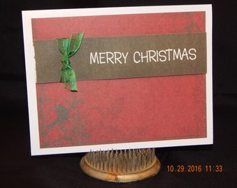Hand Stamped – Made Christmas Card – Merry Christmas
