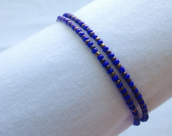 Cobalt and Copper Double Coil Bracelet