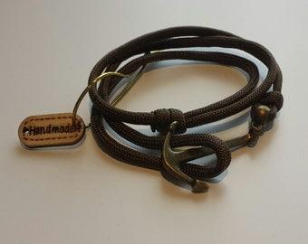 Paracord Antique Bronze metal Anchor Bracelet