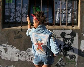 Vintage Denim Jacket studded embellished Mickey Disney Kitsch bling womens upcycle eco friendly