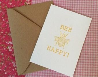 Bee Happy Birthday card, bee birthday card, bee day card, bee card, birthday, insect birthday card, funny birthday cards, bee pun birthday