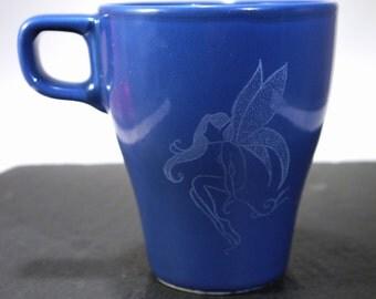 Mug Cup blue engraved engraving Elf fairy fantasy