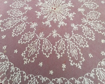 "Antique Tambour Lace Parasol Cover, 39"" x 35"" Oval, Victorian Lace for Home Decor, Costume Use,  Textile Lace Study or Cutter Piece"