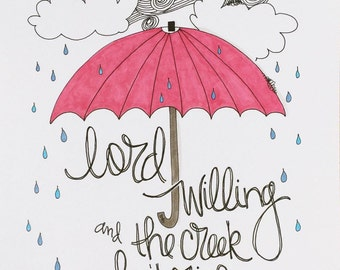 Lord Willing - handlettered print