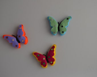 Felt Colorful Butterflies Decorated with Buttons
