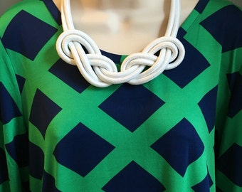 Nautical White Rope Knotted Statement Necklace