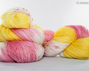 Hand Dyed Yarn Sport Sock Weight - Wild Flower, multicolored yarn, hand painted yarn, sock yarn, knitting yarn, crochet yarn