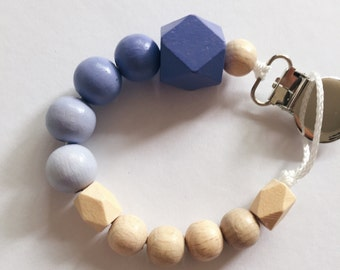 Hand-painted dummy in an ombre look with geometric wooden beads - LILAC purple